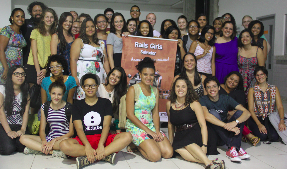 Foto de encerramento do Rails Girls 2015